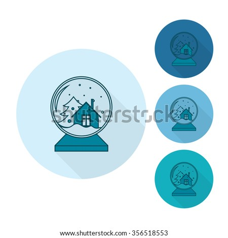 Christmas Snow Globe. Monochrome color. Long Shadow. Single Flat Icon .