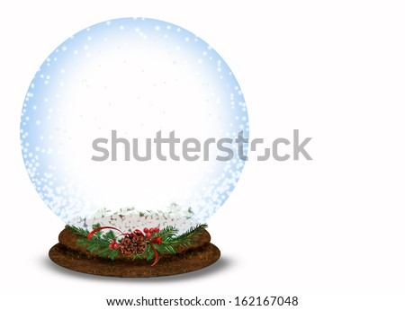 Christmas snow globe with pine and berry bouquet on white