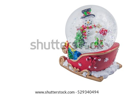Christmas snow globe with snowman isolated on white background