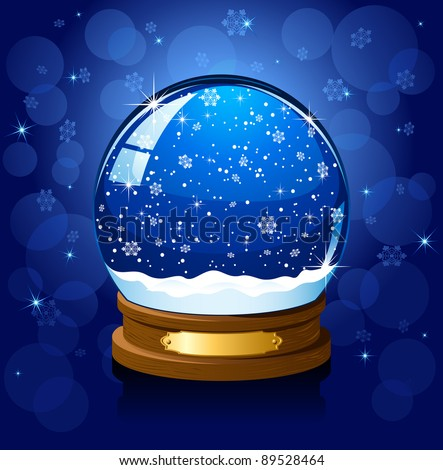 Christmas Snow globe with the falling snow, illustration - stock photo