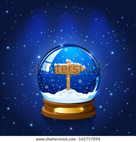 Christmas Snow globe with wooden sign, stars and the falling snow, illustration. - stock photo