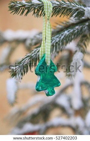 Christmas snow ornament outdoors
