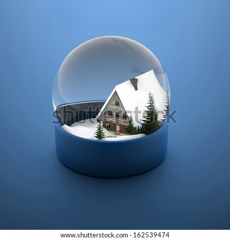 Christmas snow sphere blue with house and trees - stock photo