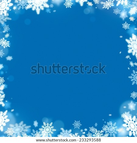 christmas snowflake frame and blue background illustration - stock photo
