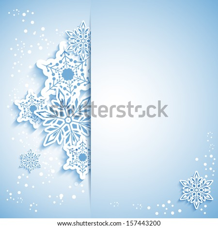 Christmas Snowflake Greeting Card with White Blue Background - stock photo