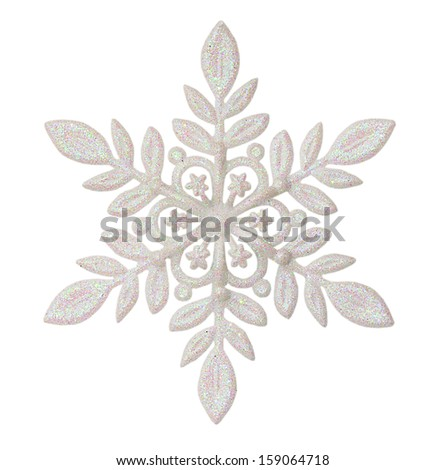Christmas snowflake shape decoration isolated on white - stock photo
