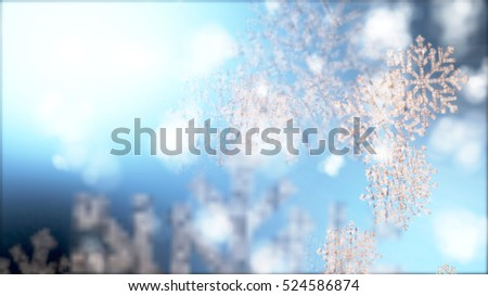 Christmas snowflakes falling background.