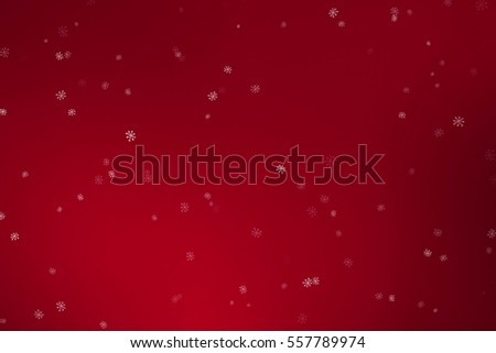 christmas snowflakes falling down snow flowing from top on red gradient background, winter holiday xmas seamless loop