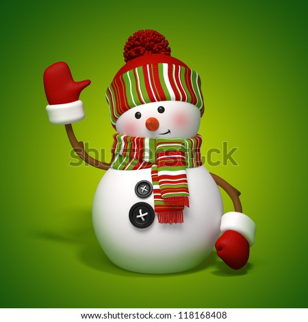 Christmas snowman - stock photo
