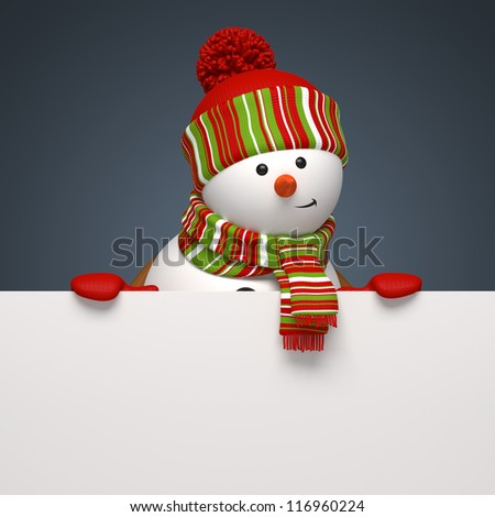 Christmas snowman banner - stock photo