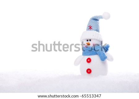 christmas snowman ornament background; (very shallow deep) - stock photo