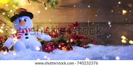 Christmas snowman with decoration and lighting & Christmas Snowman Decoration Lighting Stock Photo 740232376 ... azcodes.com