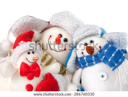 Christmas snowmen - stock photo