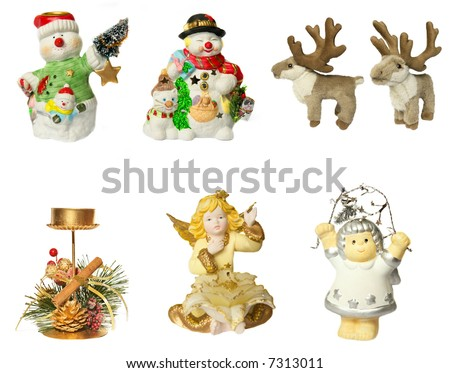 christmas snowmen, angels, candlestick and reindeer on white background - stock photo