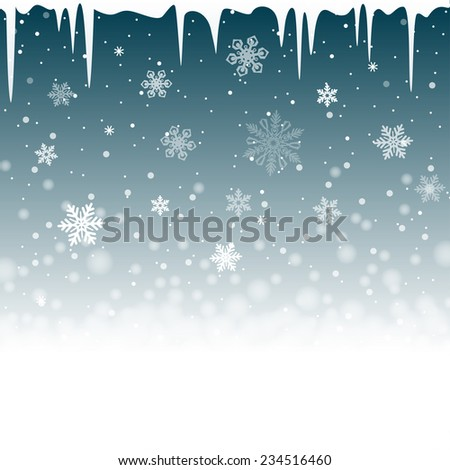 Christmas snowy background with icicles - stock photo