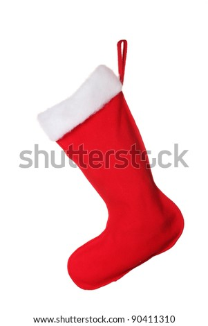 Christmas sock isolated on white - stock photo