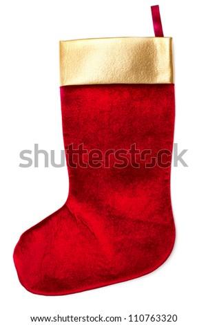 Christmas sock isolated on white background - stock photo
