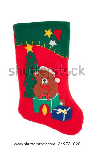 Christmas sock with teddy bear, Christmas tree and presents design