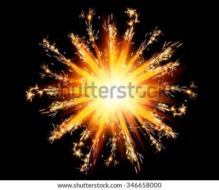 christmas sparklers star with shiny glare - stock photo