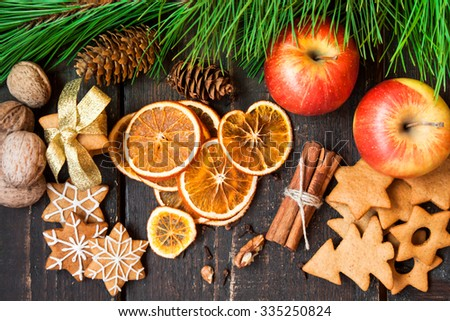 Christmas spices and homemade gingerbread - stock photo