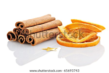 christmas spices: anise, cinnamon and cloves isolated on white - stock photo
