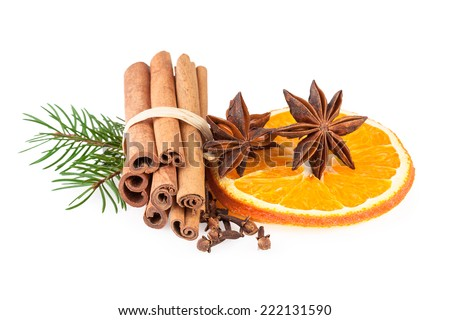 Christmas spices over white - stock photo