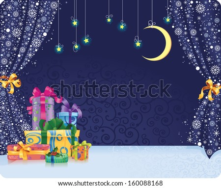 Christmas stage. Winter holiday background with gifts on stylized stage. With space for your text.  - stock photo