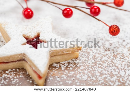 Christmas star cookie - stock photo