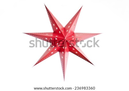 Christmas star on a white background - stock photo