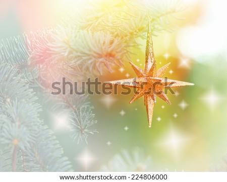 Christmas star on Christmas tree with Christmas light - stock photo
