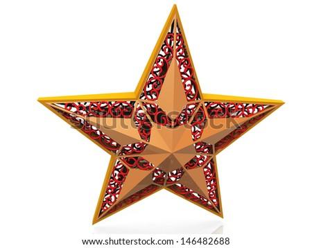 Christmas star on white background - stock photo