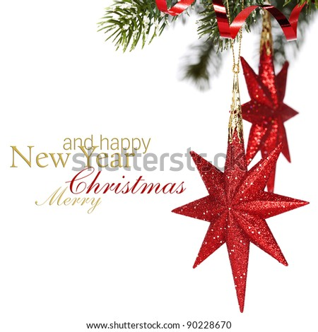 Christmas stars hanging with ribbon over white  (with sample text) - stock photo