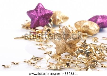 Christmas stars on the white background - stock photo