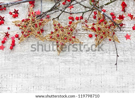 Christmas Stars with Branches - stock photo