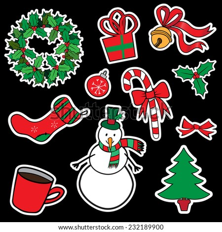 Christmas sticker icons for christmas and winter designs - stock photo