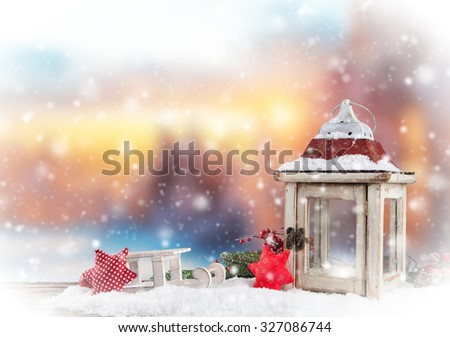 Christmas still life background with decoration in snow - stock photo