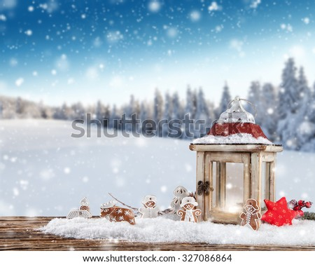 Christmas still life background with decoration in snow