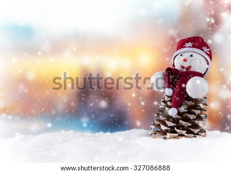 Christmas still life background with snowman - stock photo