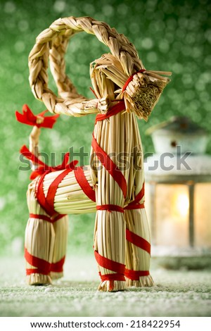 Christmas still life card with Yule goat. - stock photo