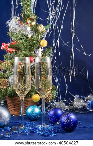 Christmas still life  on a blue background - stock photo