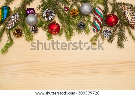 Christmas still life: tree, Christmas cones painted by hand, Christmas decorations