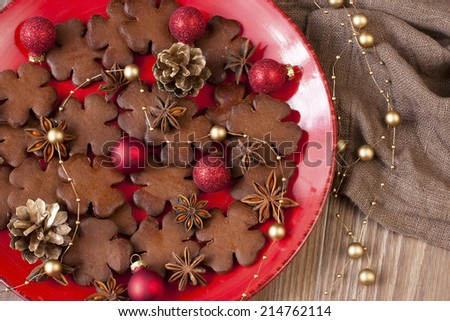 Christmas still life with cookies and spices