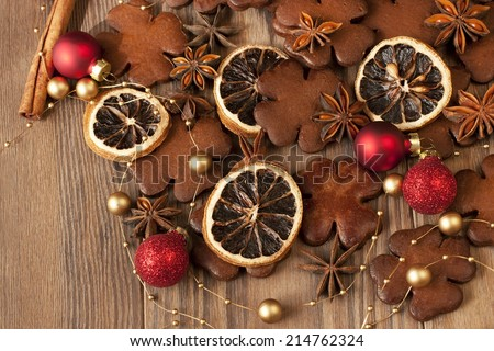 Christmas still life with cookies and spices - stock photo