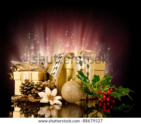 Christmas still life with shiny background