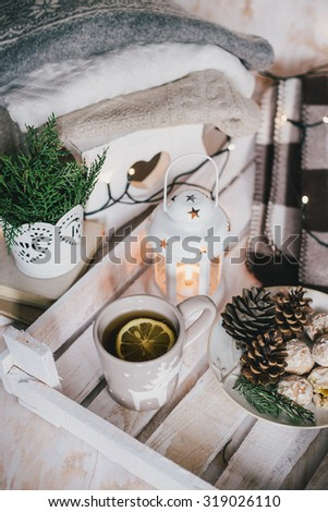 Christmas still life with tea, lights, cones and cookies - stock photo