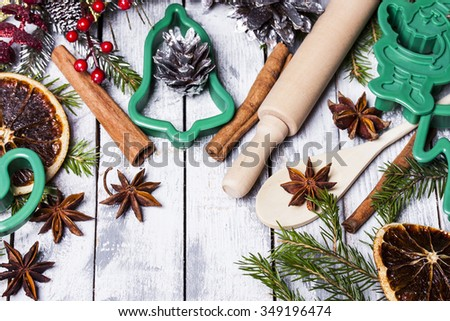Christmas still life with traditional gingerbread cookies  - stock photo