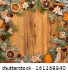 Christmas still life with traditional gingerbread cookies on wood - stock