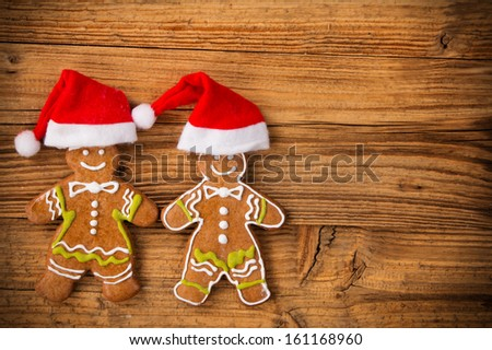 Christmas still life with traditional gingerbread cookies on wood