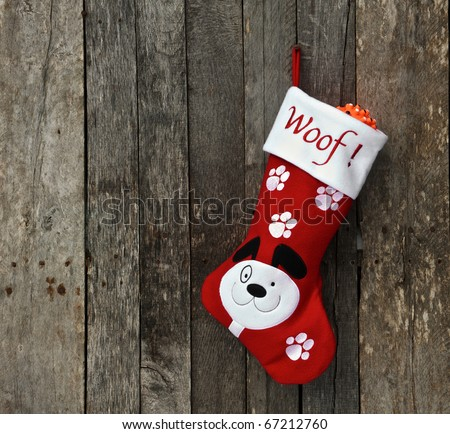 Christmas stocking for a puppy hangs on a rustic wooden wall with copy space. - stock photo