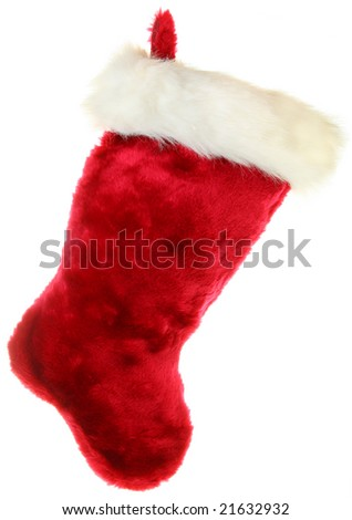 Christmas stocking isolated on white - stock photo